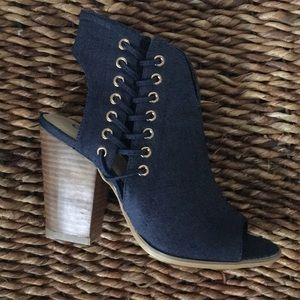 """Cato Shoes - Amazing 4"""" faux stacked wood heeled denim booties"""